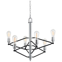 Cal Lighting FX-3655-6 George 6 Light 27 inch Chrome and Black Chandelier Ceiling Light