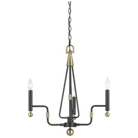 Cal Lighting FX-3656-3 Baxley 3 Light 29 inch Dark Bronze and Antique Brass Chandelier Ceiling Light