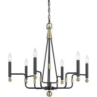 Cal Lighting FX-3656-6 Baxley 6 Light 24 inch Dark Bronze and Antique Brass Chandelier Ceiling Light