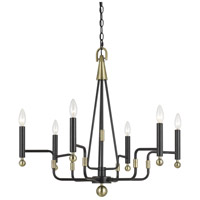Cal Lighting FX-3656-6 Baxley 6 Light 24 inch Dark Bronze and Antique Brass Chandelier Ceiling Light