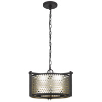 Howell 3 Light 16 inch Antique Silver and Iron Chandelier Ceiling Light, Convertible to Semi-Flush