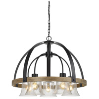 Bell 5 Light 28 inch Black and Wood Chandelier Ceiling Light