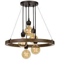 Martos 5 Light 26 inch Pine and Iron Chandelier Ceiling Light