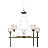 Cal Lighting FX-3688-5 Melilla 5 Light 31 inch Pine and Iron Chandelier Ceiling Light