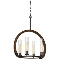 Cal Lighting FX-3691-4 Sulmona 4 Light 24 inch Oak and Iron Chandelier Ceiling Light