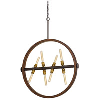 Cal Lighting FX-3692-8 Teramo 8 Light 33 inch Oak and Iron Chandelier Ceiling Light