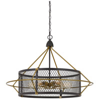 Cal Lighting FX-3696-6 Caserta 6 Light 33 inch Antique Brass and Black Chandelier Ceiling Light