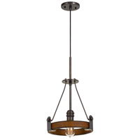 Cal Lighting FX-3698-1 Lucca 1 Light 10 inch Oak and Iron Pendant Ceiling Light