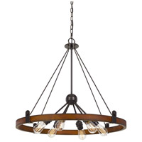 Cal Lighting FX-3698-6 Lucca 6 Light 29 inch Oak and Iron Chandelier Ceiling Light