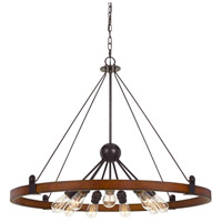Cal Lighting FX-3698-9 Lucca 9 Light 29 inch Oak and Iron Chandelier Ceiling Light