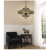 Alicante 6 Light 30 inch Pine Wood and Black Chandelier Ceiling Light, Hexagon Lantern