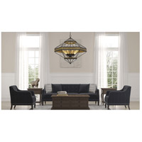 Cal Lighting FX-3702-9 Alicante 9 Light 36 inch Pine Wood and Black Chandelier Ceiling Light Hexagon Lantern