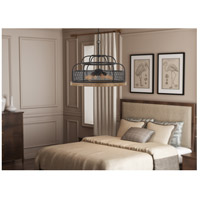 Cal Lighting FX-3706-6 Akaki 6 Light 24 inch Iron and Light Oak Chandelier Ceiling Light, Dome