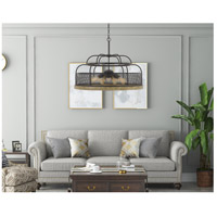 Akaki 9 Light 25 inch Iron and Light Oak Chandelier Ceiling Light, Dome