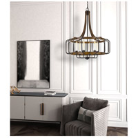 Kellia 6 Light 28 inch Iron and Dark Oak Chandelier Ceiling Light