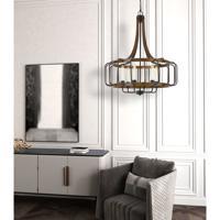 Cal Lighting FX-3708-6 Kellia 6 Light 28 inch Iron and Dark Oak Chandelier Ceiling Light