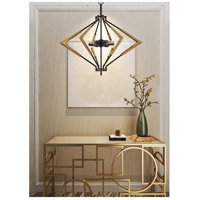 Cal Lighting FX-3709-6 Malounta 6 Light 32 inch Antique Brass and Black Chandelier Ceiling Light
