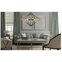 Cal Lighting FX-3709-9 Malounta 9 Light 38 inch Antique Brass and Black Chandelier Ceiling Light