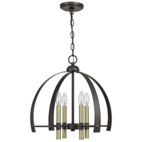 Cal Lighting FX-3713-4 Utica 4 Light 19 inch Antique Brass with Bronze Chandelier Ceiling Light