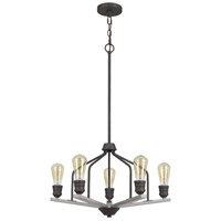 Cal Lighting FX-3716-5 Corning 5 Light 24 inch Textured Bronze with Wood Chandelier Ceiling Light
