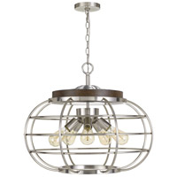 Cal Lighting FX-3719-5 Liberty 5 Light 25 inch Brushed Steel with Wood Chandelier Ceiling Light