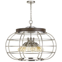Cal Lighting FX-3719-8 Liberty 8 Light 31 inch Brushed Steel with Wood Chandelier Ceiling Light