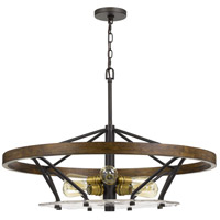 Cal Lighting FX-3721-6 Sherrill 6 Light 32 inch Bronze with Wood Chandelier Ceiling Light