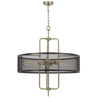 Cal Lighting FX-3727-6 Leiden 6 Light 5 inch Antique Brass/Black Chandelier Ceiling Light