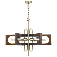 Cal Lighting FX-3728-6 Sneek 6 Light 5 inch Antique Brass/Wood Chandelier Ceiling Light