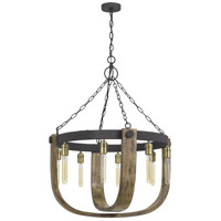 Cal Lighting FX-3730-8 Apulia 8 Light 5 inch Light Oak/Iron Chandelier Ceiling Light