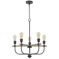 Cal Lighting FX-3734-5 Sion 5 Light 5 inch Natural Wood and Iron Chandelier Ceiling Light