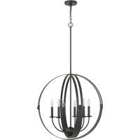 Cal Lighting FX-3737-6 Valais 6 Light 5 inch Matte Black Chandelier Ceiling Light