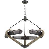 Cal Lighting FX-3740-6 Baden 6 Light 5 inch Wood and Iron Chandelier Ceiling Light