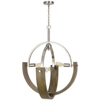 Cal Lighting FX-3741-4 Rauma 4 Light 28 inch Wood/Brushed Steel Chandelier Ceiling Light