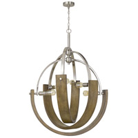 Cal Lighting FX-3741-6 Rauma 6 Light 34 inch Wood/Brushed Steel Chandelier Ceiling Light