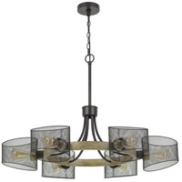 Cal Lighting FX-3742-6 Dronten 6 Light 36 inch Wood/Black Chandelier Ceiling Light