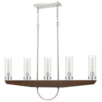 Cal Lighting FX-3756-5 Ercolano 5 Light 43 inch Wood/Brushed Steel Island Light Ceiling Light