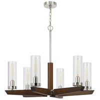 Cal Lighting FX-3756-6 Ercolano 6 Light 32 inch Wood/Brushed Steel Chandelier Ceiling Light