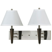 Hotel 2 Light 13 inch Brushed Steel and Espresso Wall Lamp Wall Light