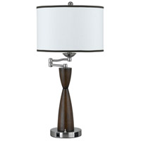 Cal Lighting LA-60006TB-1R Hotel 30 inch 100 watt Brushed Steel and Espresso Table Lamp Portable Light