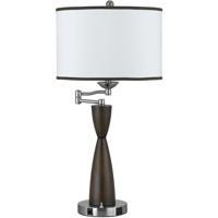 Cal Lighting LA-60006TB-1R Hotel 30 inch 100 watt Brushed Steel and Espresso Table Lamp Portable Light