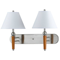 Cal Lighting LA-60008W2L-1BS Hotel 2 Light 26 inch Brushed Steel Wall Lamp Wall Light