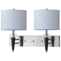 Cal Lighting LA-8002W2L-1BS Hotel 2 Light 24 inch Brushed Steel and Black Wall Lamp Wall Light
