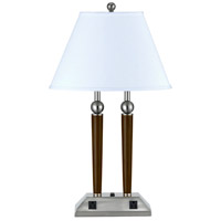 Cal Lighting LA-8005DK-1RBS Hotel 28 inch 60 watt Brushed Steel and Espresso Desk Lamp Portable Light