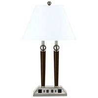 Hotel 27 inch 60 watt Espresso and Brushed Steel Desk Lamp Portable Light