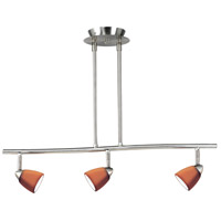 Cal Lighting SL-954-3-BS/AM Serpentine 3 Light 120V Brushed Steel Rail Fixture Ceiling Light
