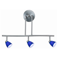 Cal Lighting SL-954-3-BS/BL Serpentine 3 Light 120V Brushed Steel Rail Fixture Ceiling Light