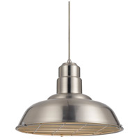 Signature 1 Light 16 inch Brushed Steel Pendant Set Ceiling Light, Line Voltage