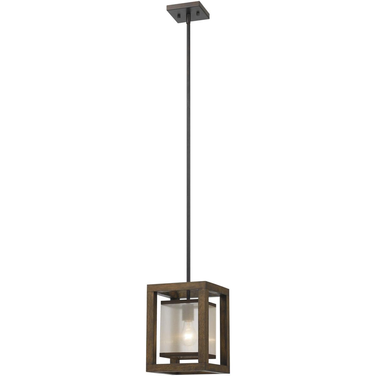 cal lighting fx 3536 1p signature 1 light 8 inch wood mini pendant