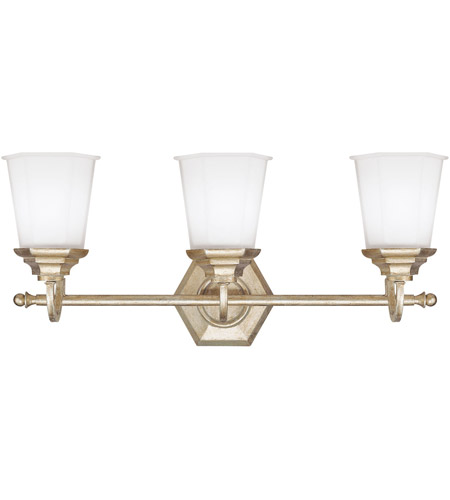 Capital Lighting Fifth Avenue 3 Light Vanity in Winter Gold with Soft White Glass 1068WG-101 photo